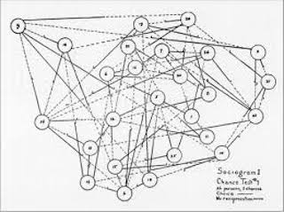 "A ""chance sociogram"" figure from the 2nd Edition of Who Shall Survive?"
